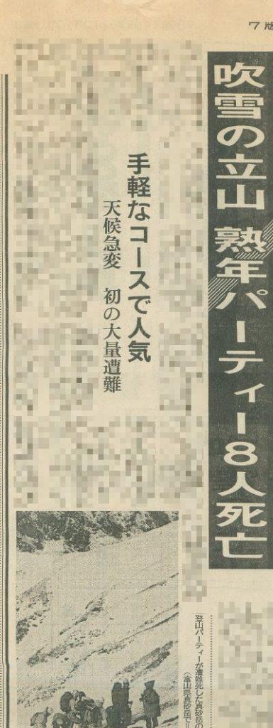 「吹雪の立山 熟年パーティー8人死亡」を報じる新聞の切り抜き