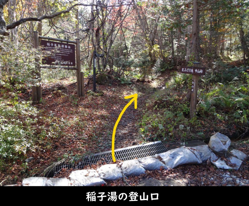 稲子湯の登山口