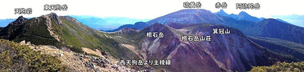 西天狗岳より主稜線