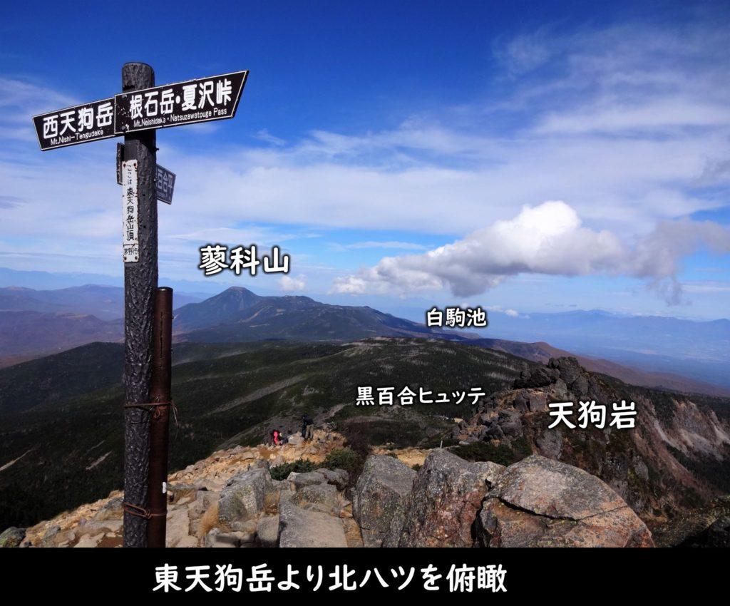 東天狗岳より北八ツを俯瞰