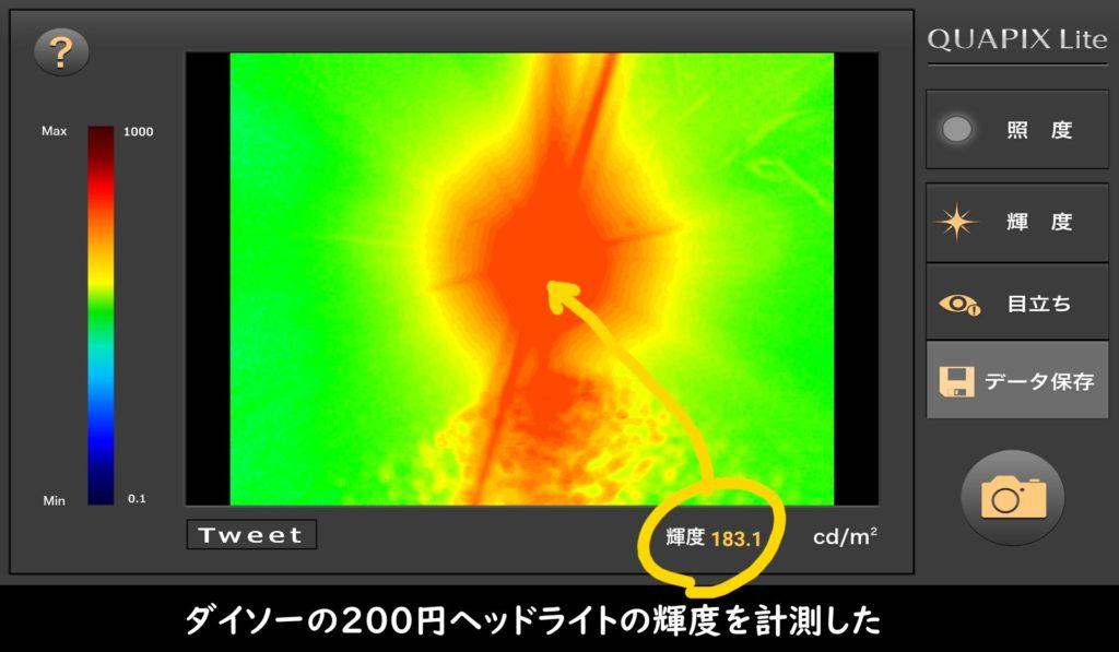 ダイソーの200円ヘッドライトの輝度を計測した
