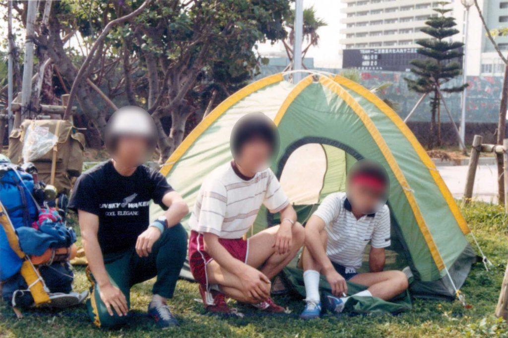 奥武山公園に安物のドーム型テント